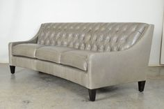 New design | Tufted Slope Arm Crescent Shape Sofa in Echo - Limestone Leather  | www.cococohome.com