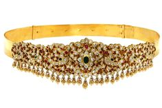 C. Krishniah Chetty Gold Waist Belt, set with uncut diamonds, rubies, emerald…