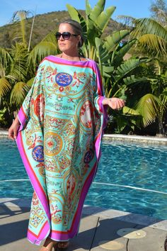Women S Fashion Worldwide Shipping Product African Maxi Dresses, Latest African Fashion Dresses, African Print Fashion, Silk Kaftan, Caftan Dress, Silk Tunic, Silk Dress, Kaftan Style, African Traditional Dresses