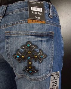 Turquoise Brown Cross Cowgirl Tuff Jeans