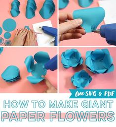 Learn how to make paper flowers by hand or with a Silhouette or Cricut machine and enjoy several different free paper flower templates. This is the best tutorial! There's even a video with step-by-step instructions. #paperflowers #giantpaperflowers #papercrafts Free Paper Flower Templates, Paper Flower Patterns, Diy Craft Projects, Crafts For Kids, Diy Crafts, Diy Paper, Paper Crafts, Paper Art, Paper Flower Wreaths