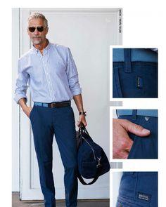 Older Mens Fashion, Men Fashion, Business Casual Men, Men Casual, Silver Foxes Men, Man Style, Casual Shirts, Handsome, Menswear