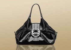 Bulgari Chandra black frosty patent black calf leather medium shoulder bag 1