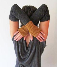 Women's long fingerless gloves - arm warmers- handmade by lolide