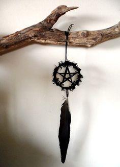 Crow Feather Pentacle. Pagan Wiccan Morrigan Morgana Amulet. Shamanic Totem