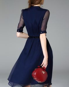 Navy Blue Silk Half Sleeve Belted Solid Midi Dress