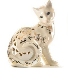 """Драгоценности Light Cat Фигурка по Lenox Изготовленная из ручной росписью из слоновой кости тонкого фарфора, с ударением 24-каратного золота и эмали jeweling Высота: 4 1/2 """""""