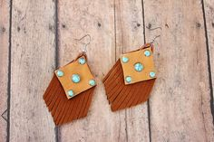 Turquoise and Leather Fringe Earrings on Etsy by BuckskinBetty