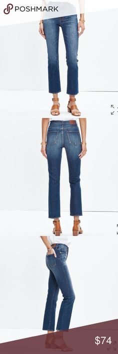 """NWT Madewell Demi Boot Crop Jeans NWT Madewell Demi Boot Crop Jeans are lean & modern, this fresh fit kicks out just a bit at the hem for a mini-flare looks that works with flats & heels alike. With the extra high 10"""" rise, these jeans are made with some of the world's best hold you in, lift you up, Denim. Belt loops, contrast stitching, copper hardware, 5 pocket silhouette. Medium/Dark wash with fading. Light distress at hem and pockets. Sits above hip, fitted through hip & thigh w/ slim…"""