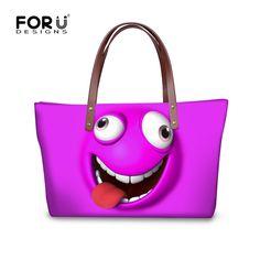Brand Top Handle Bag Satchel Girls Designer Women Handbag Funny Emoji Printed  Shoulder Bags Ladies Large Tote Bag Bolsa Feminina-in Top-Handle Bags from  ... 4860270fdc6b9