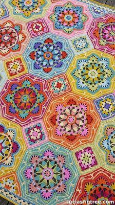 the eastern Jewels crochet blanket : The Stitching Mommy: WOW! the eastern Jewels crochet blanket original pattern here: WOW! the eastern Jewels crochet blanket Crochet Afghans, Crochet Motifs, Crochet Blocks, Crochet Squares, Crochet Blanket Patterns, Knitting Patterns, Afghan Patterns, Pixel Crochet Blanket, Tile Patterns