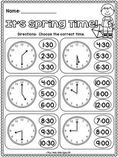 22 Telling Time Worksheets Grade elapsed time worksheets with clocks Time Worksheets Grade 3, School Worksheets, Kindergarten Worksheets, In Kindergarten, Clock Worksheets, Grammar Worksheets, Telling Time Activities, Teaching Time, Teaching Math