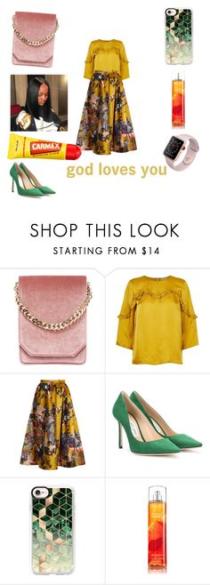 """""""happy sunday"""" by markesiakennedy ❤ liked on Polyvore featuring Cafuné, Claudie Pierlot, Erdem, Jimmy Choo, Casetify and Carmex"""
