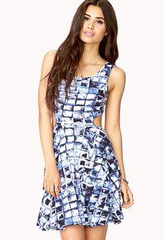 Cutout Craze Abstract Dress by Day Dresses, Blue Dresses, Summer Dresses, Stylish Outfits, Cool Outfits, My Unique Style, Fit Flare Dress, Forever 21 Dresses, Dress Me Up
