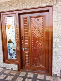 Main Entrance Door Design, Front Door Design Wood, Front Gate Design, Wooden Door Design, Wooden Doors, Living Room Partition Design, Room Partition Designs, Single Main Door Designs, Door Design Photos