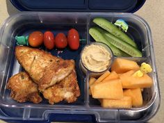 Homemade crumbed chicken tenders. Loving this new lunchbox and food picks and most importantly he loved it as well!