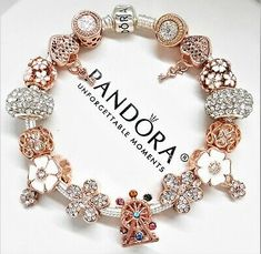 Authentic Pandora Bracelet Silver Snap Clasp With Rose Gold Love European Charms Charms Pandora, Pandora Jewelry, Pandora Bracelets, Charms For Bracelets, Jewelry Bracelets, Pandora Necklace, Silver Bracelets, Jewlery, Bracelets Design
