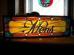 Stained glass Mens sign made by me, Vicky True-Baker