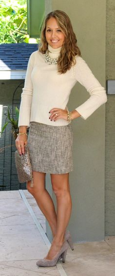 Ivory sweater + tweed skirt + suede shoes #winterfashion