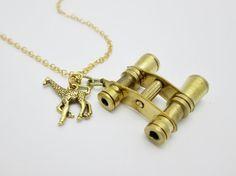Brass Binoculars Necklace B020 With 24K Gold by CranberryStreetNY, $25.99