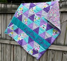 Purple and teal baby quilt, triangle quilt, elephant baby quilt  https://www.etsy.com/listing/230381473/personalized-baby-quilt-triangle-baby?ref=shop_home_feat_3