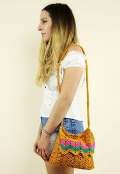 Vintage+70s+Crochet+Chevron+Shoulder+Bag