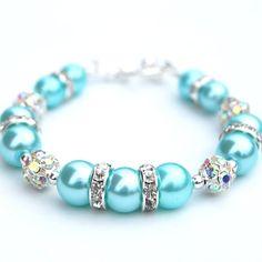 Aqua Pearl Rhinestone Bracelet Bridesmaid Jewelry by AMIdesigns