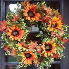 - This Beautiful Fall Wreath in Green Apple is a Weather Resistant Wreath that can be used Indoors or Outdoors. - Sturdy Built Wreath on Grapevine Base that will Resist the Outdoor Weather - Suita by nanette Thanksgiving Wreaths, Autumn Wreaths, Holiday Wreaths, Wreath Crafts, Diy Wreath, Wreath Ideas, Door Wreaths, Sunflower Wreaths, Fall Harvest