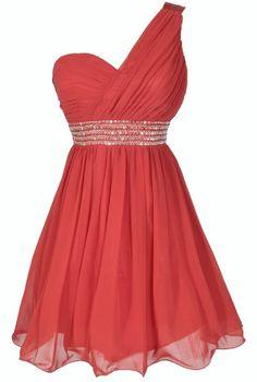 One Shoulder Embellished Chiffon Designer Dress in Red  www.lilyboutique.com