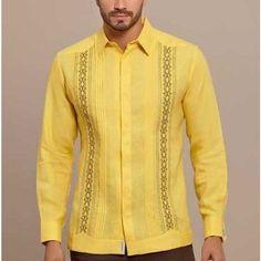 Casual Button Down Shirts, Casual Shirts, African Shirts For Men, Guayabera Shirt, Tropical Fashion, Embroidered Clothes, Men Dress, Long Sleeve Shirts, Shirt Designs
