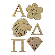 These wood pieces are perfect for your crafting project. Whether youre going to put them on a mascot board, picture frame or one of your other great crafting projects. You either get six wood pieces if your sorority is a three letter organization or five wood pieces if your sorority is a two letter organization.  **All pieces are just under a quarter of an inch thick. All letters are 2x2 inches  The Diamond is 2x1.75  The Lion is 2.5x2.25  The Flower is 2x2   Product FAQ: Q: How many wood…