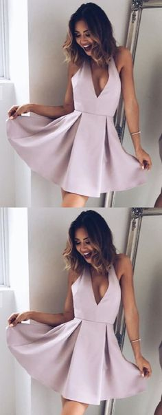 cute semi formal dresses, chic deep v-neck party dresses, simple dress, chic a-line short homecoming dresses