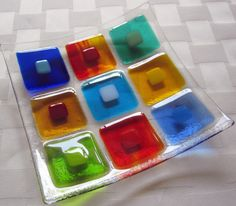Fused Glass Plate, Colorful Double Squares by Shakufdesign on Etsy https://www.etsy.com/listing/156807571/fused-glass-plate-colorful-double