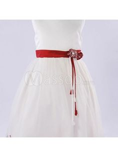 Exquisite Red Velvet Bridal Sash with Crystals