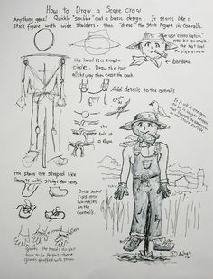 Here is the drawing worksheet, go to the blog to learn more. http://drawinglessonsfortheyoungartist.blogspot.com/2012/10/how-to-draw-scarecrow-man.html# How to Draw Worksheets for Young Artist: How To Draw A Scarecrow Man