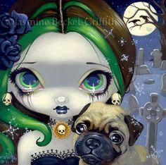 Faces of Faery 145 pug dog vampire cemetery big eye by strangeling, $13.99