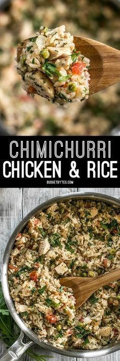 This Chimichurri Chicken and Rice is a bright and vibrant summer meal that cooks in just one pot to make dinner fast and easy. @budgetbytes