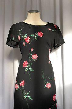 8221455eec26ca Vintage Black Floral Maxi Dress with Side Slits