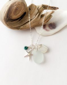 Starfish Necklace, Handmade Necklace with Sea Glass and Mother of Pearl, Beach Necklace, Cluster Necklace, Gift for Her