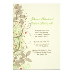 Lime Green Coral Tan Ivory Swirls Post Wedding Personalized Invite