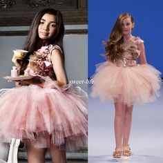 2016 Ball Gown Girl's Pageant Dresses Sequins Jewel Neck Ruffles Blush Pink Flower Girls Dresses For Weddings Beads Short Kids Formal Wear Online with $78.35/Piece on Sweet-life's Store | DHgate.com
