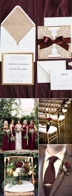 marsala,burgundy and rose gold vintage organic garden wedding colors and invitations
