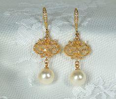 Ornate+gold+bridal+earring+Downton+Abbey+by+MossRoseBrideJewelry,+$95.00
