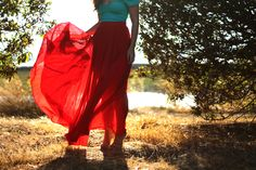 red maxi skirt / color block