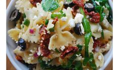 Bow-tie Pasta Salad with sun-dried tomatoes, black olives, feta and spinach --  Petite bow ties work best.   Definitely Add fresh basil .  Also good with thinly sliced cucumber and fresh sweet bell pepper if more veggies are desired.