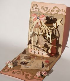 The Dining Room Drawers: Sizzix Pop 'n Cuts Bird Cage Card & Dress Form Card