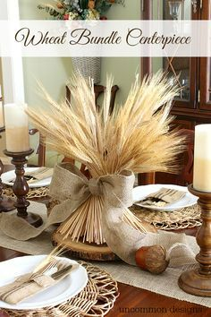 How to Make a Wheat Bundle Thanksgiving Centerpiece. Use a wheat bundle, wood and kraft paper to make a simple and affordable Thanksgiving centerpiece. Thanksgiving Diy, Thanksgiving Centerpieces, Decorating For Thanksgiving, Cheap Thanksgiving Decorations, Thanksgiving Celebration, Fall Crafts, Decor Crafts, Deco Champetre, Autumn Decorating