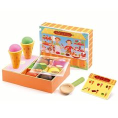 Djeco presents its Paul et Cerise ice box, the small ice workshop for playing dinette, a gift for playing dinette from 3 years old. Ice Cream Stand, Ice Cream Set, Coffee Ice Cream, Ice Cream Scoop, Cherry Ice Cream, Traditional Toys, Glacier, Unique Toys, Cute Toys