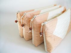 Wedding Clutch Set of 6 Bridesmaids gift bags Peach and Cream Chevron Cosmetic Purses. $125.00, via Etsy.