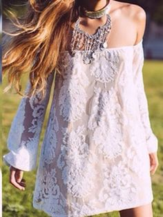 White Lace Embroidery Off Shoulder Shift Dress | abaday